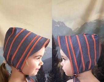 STRIPED UNISEX BONNET brimmed cotton sun hat blue red stripes 1-4 years summer spring baby toddler kid
