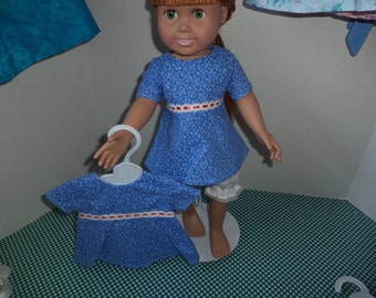 Blue Floral Blouse with lace trim, 18 inch dolls, Ready to Ship