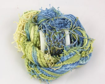 Ocean cobalt Blue Green Gold Beaded Embroidery thread seed beads sequins hand dyed ribbon weaving supply quilting embellishment bead yarn