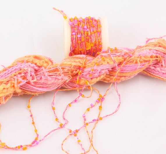 Bright orange hot pink beaded embroidery thread with seed