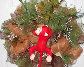 deco mesh monkey wreath, monkey wreath, monkey, ready to ship