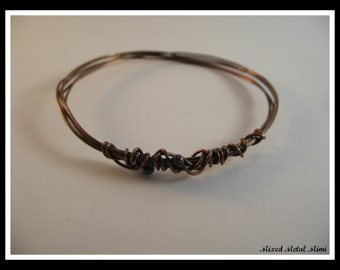 NEW/ Copper Bangle Bracelet / Copper Wire Bracelet/ Small Bangle  Bracelet/ Copper / bracelet- B-001