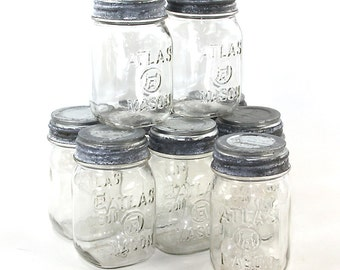 Atlas Hazel Mason Jar Zinc Lid Milk Glass Liner