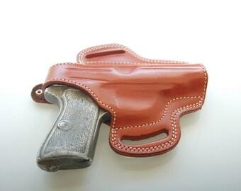 Beretta 70,71,72,73,74,75 Jaguar Belt Leather Hand Made Holster Black Tan R.H