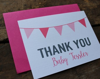 Custom Baby Shower Thank You Cards // Girl Shower // Pink Shower // Pink Personalized Thank you Note Set