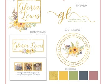 Branding Set - Summer Flowers Watercolor Gold Foil - Logos, Watermark, Business Card - Customizable - Predesigned - Option to retire design