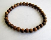 Wood Bracelet  Wood Stretch Bracelet Small Bead Bracelet Brown Wood Stacking Bracelet Boho Bracelet Natural Stack Bracelet Natural Jewelry