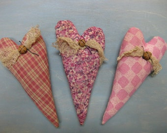 Valentine's Day Heart Bowl Fillers - Set of 3 - Primitive - Wedding - Anniversary - Homespun & Calico Grungy Fabrics - Valentine  Home Decor