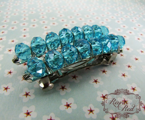Birthstone Crystal Barrettes - March - Aquamarine - Set of 2 - faceted crystal barrettes for girls, teens, and women by reynared