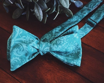 Bow Tie || Teal Damask