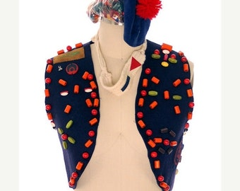 On Sale Now Vintage Campfire Girls Vest w/ Loads of Beads, Extra Beads & Cap 1960s