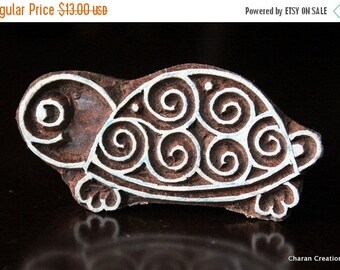 THANKSGIVING SALE Pottery Stamps, Indian Wood Stamp, Textile Stamp, Wood Blocks, Tjaps, Printing Stamp- Cute Tortoise