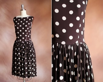 vintage 1960's brown & cream polka dot silk chiffon dress / size s