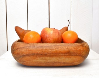 Monkey Pod Bowl Vintage Rustic Wooden Display Bowl 1970s Large Rounded Square Fruit Bowl