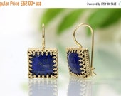 SUMMER SALE - Lapis Lazuli earrings,gold earrings,square earrings,dangle earrings,September birthstone earrings,gemstone earrings