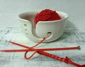 Yarn Bowl with Wide Mouth Ceramic Yarn Bowl handmade in my Charleston, SC studio