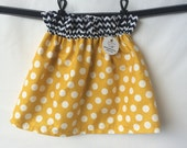 CLEARANCE Mustard and Navy Polka Dot and Chevron Boutique Ruffle Waist Skirt