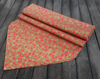 Christmas fabric runner - Holiday table runner - Holly table runner - red table runner - Christmas table cloth - holiday table cloth