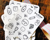 Cute planner sticker SAMPLE SHEET, hand drawn doodles and icons