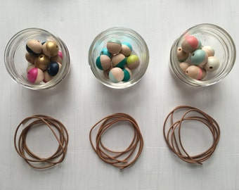 DIY Mini Necklace Kit, Makes 1 Necklace, Hand Painted, Wooden Bead, Tan Leather Cord, Adjustable, Long, Short, Tie