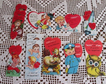 Set of 12--Vintage UNUSED Valentines for Valentine's Day Boys Girls Owl Chicken Beaver