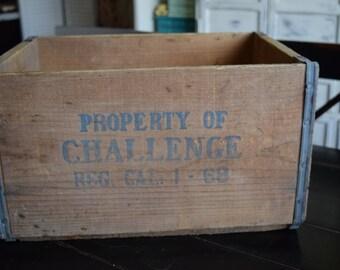 Challenge Milk Crate/ Wooden Milk Crate/ Vintage Wooden Milk Crate/Crate with Handles/ Wood and Metal Crate