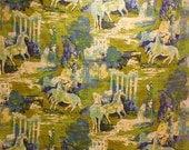 RESERVED FOR SUSAN Wild Horses Amazing Vintage Screen-printed Burlap Univtex Vat Dyed Screen Print, Impressionist Style Print Design