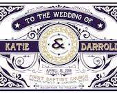 Custom Listing for katelhenry - Letterpress Look, Retro Typography Wedding Invitation, Gold and Eggplant Purple Wedding, Celtic Wedding