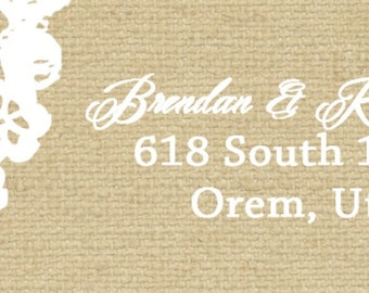 Burlap and Lace Wedding Invitation Return Labels, Rustic Summer Wedding, Custom Wedding Invitation Listing for keiakoi1
