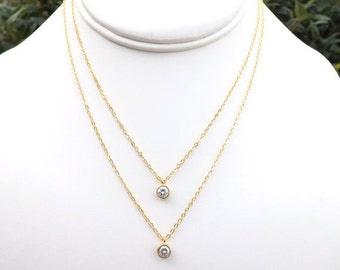 Cubic Zirconia Gold Necklace. Gold Double Strand Necklace. Necklace Set. Pendant Necklace. Bridesmaid Gift.Gold Necklace.Delicate.Dainty.Mom