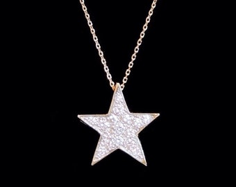 14k Yellow Gold Star with SI1 G-H Diamonds Pendant or Necklace (Optional Chain)