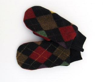Mens Wool Mittens Fleece Lined Argyle mittens in Navy Red and Btown Felted Wool Sweater Mittens
