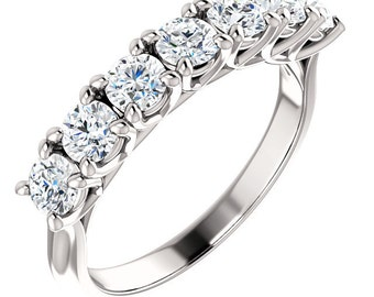 7 stones  Moissanite Anniversary Band   In 14k white gold  wedding Band Ring ST233930