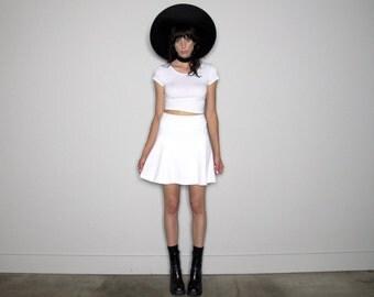 White Tennis Style MINI Skirt SKATER Skirt High Waist VTG Womens Size 27 Waist