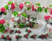 """Fianl Payment Custom Order For """"Sara"""" 20 Peice BRiDaL PaCKaGe Wedding Flowers Roses and Calla lilies Hot Pink/Green and white flowers"""