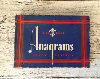 Vintage Anagram Game - Over 175 Embossed Wood Letters