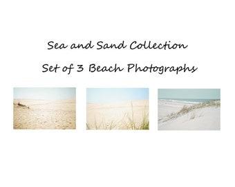 Beach Photograph Set, Set of three beach prints, Sea and Sand Photo set, Sea Green, Aqua, Champagne beige print set, Modern Seascape set