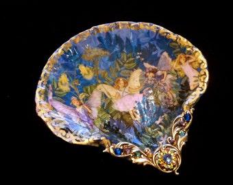 Fairies Pixies Shell Jewelry Dish Trinket Dish Ring Dish Shell Art