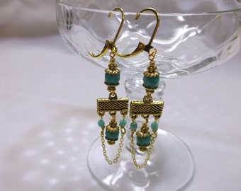 Antique Gold And Turquoise Dangle Earrings