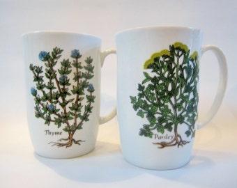 Vintage Mugs NEIMAN MARCUS Botanicals HERBS 1970s Set of 4