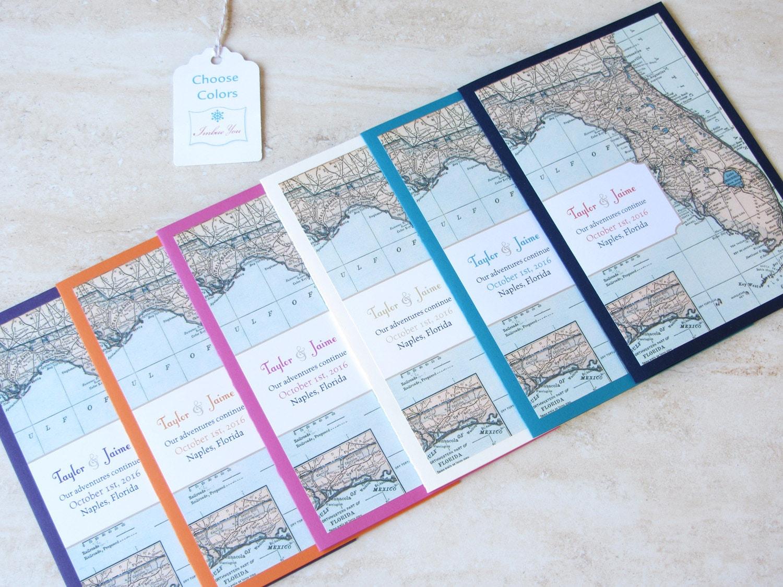 Florida Map Wedding Invitation Booklet Vintage Map