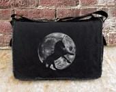 Messenger Bag with Unicorn and Full Moon - Screen Printed Messenger Bag