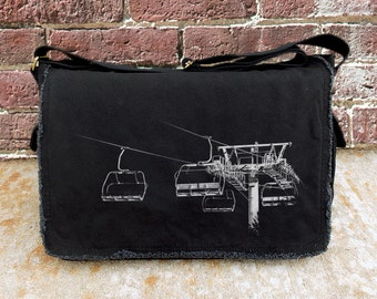 Messenger Bag - Ski Lift 8 - Screen Printed Cotton Canvas Messenger