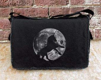 Messenger Bag with Unicorn and Full Moon - Screen Printed Messenger Bag