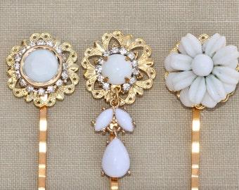 Vintage Milk Glass Jeweled Bobby Pins,Bridal Hair Pins,Vintage Milk Glass Earrings & Brooches,Bridesmaids,Something Old,Gold and White,Set