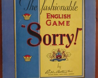Vintage Sorry Game Board Games Parker Brothers The Fashionable English Game Toys YourFineHouse ShipsWorldwide