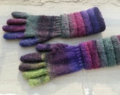 Handknitted Wool Gusset Gloves. Long Purple Green Multicolored Gloves. Knitted Winter Arm Warmers. Women Wool Art Gloves. Gift for Her.