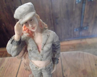 vintage kitsch hiker figurine, ditzy girl, collectible, doll,1980s