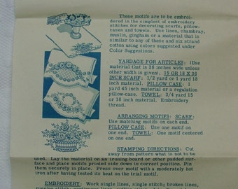Vintage Embroidery Transfer Pattern, Laura Wheeler No.574 Motifs for Linens