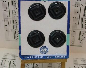 """Vintage Buttons on Original Card 4 Carved Plastic, 1"""" Black"""